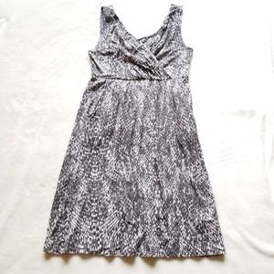 Garnet Hill Tencel V-Neck Snake Print Dress Small